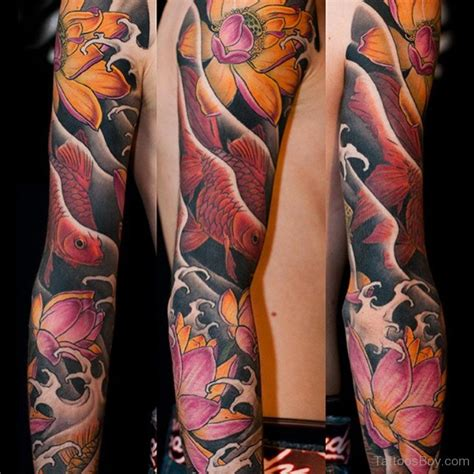 full hand koi tattoo lotus tattoos tattoo designs tattoo pictures page 5
