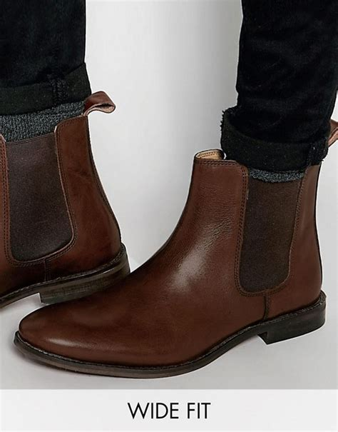 asos asos wide fit chelsea boots in brown leather