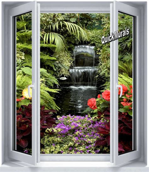 window wall murals floral waterfall window 1 peel stick wall mural