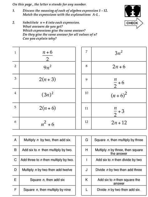 Algebra 1 Worksheet 1 5 Translating Expressions by Translate Math Expressions Worksheets Help With Pre