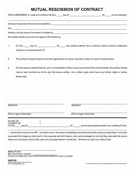Contract Rescission Letter Rescission Of Contract Nevada Forms Tax Services Inc