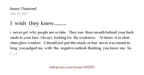 I Wish They Knew by I Wish They Knew By Kenny Hello Poetry