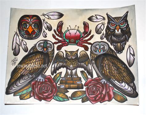 tattoo old school art crab and owls print tattoo flash art old school tattoo art