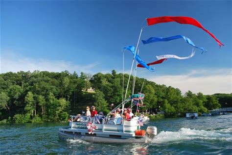 pontoon boat flag pole consort display group lakehomes cottages