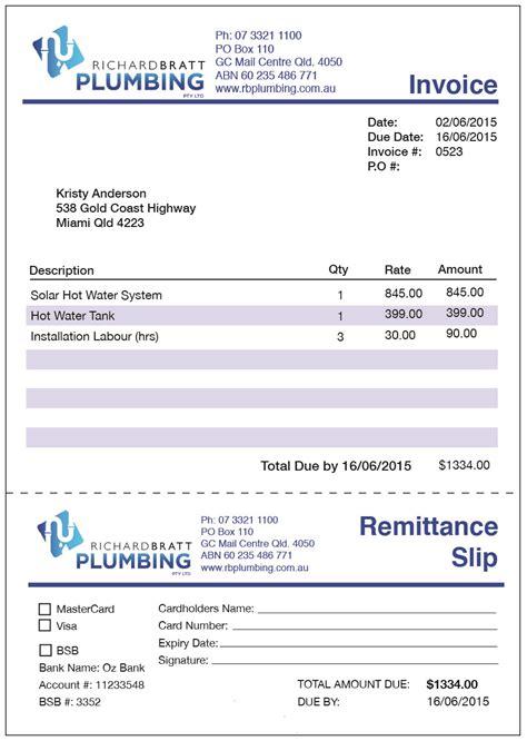 Plumbing Receipts by Plumbing Invoice Template Australia U2013