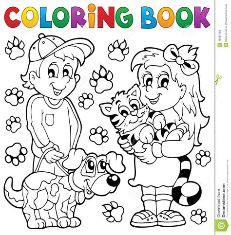 coloring book free vector coloring book children with pets stock vector image