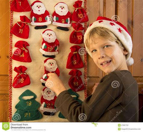 Boy Advent Calendars Boy Opening Advent Calendar Stock Photography Image