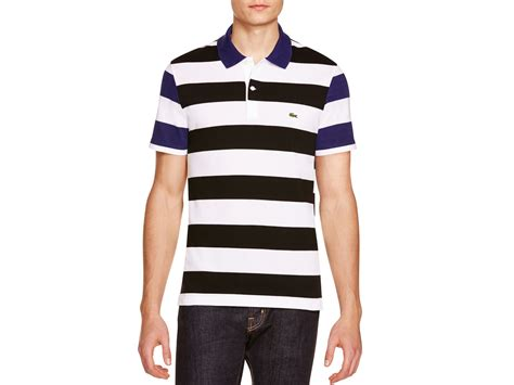 Polo Shirt Lacost Maroon Mix Black lacoste mixed stripe regular fit polo shirt for lyst