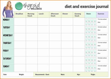Food And Exercise Journal Template by 5 Exercise Journal Divorce Document