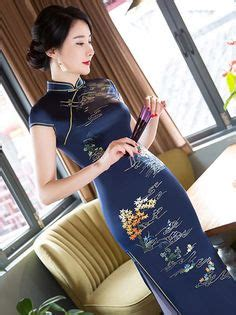 Brukat Cheongsam Collar modern qipao cheongsam dress in painted print