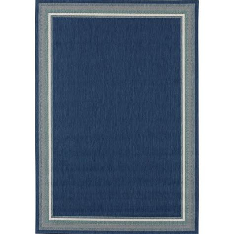 5 X 7 Indoor Outdoor Rug Hton Bay Border Navy Aqua 5 Ft X 7 Ft Indoor Outdoor Area Rug 192530991602251 The Home Depot