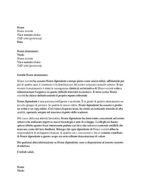 esempi di lettere di licenziamento lettera di referenze per dipendente professionista