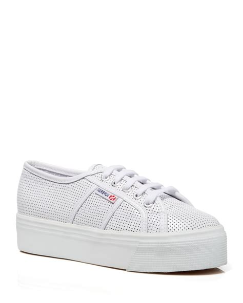 superga platform sneakers superga lace up platform sneakers perforated leather in