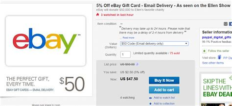 Does Ebay Have Gift Cards - save 5 on ebay gift cards with ellen partnership