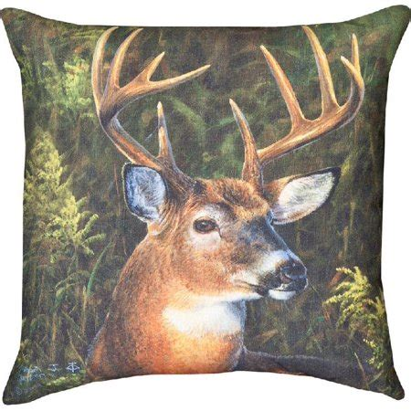 walmart decorative deer outdoor september whitetail deer indoor outdoor decorative throw pillow 18in x18in walmart
