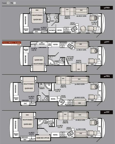 monaco rv floor plans 2011 monaco cayman luxury motorcoach floorplans large
