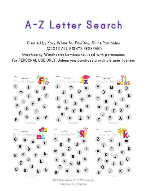 Search Z A Z Letter Search Worksheet Pack