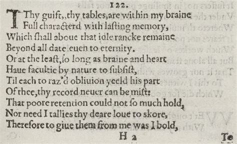 sonnet 122 thy gift thy tables are within my brain poem sonnet 122