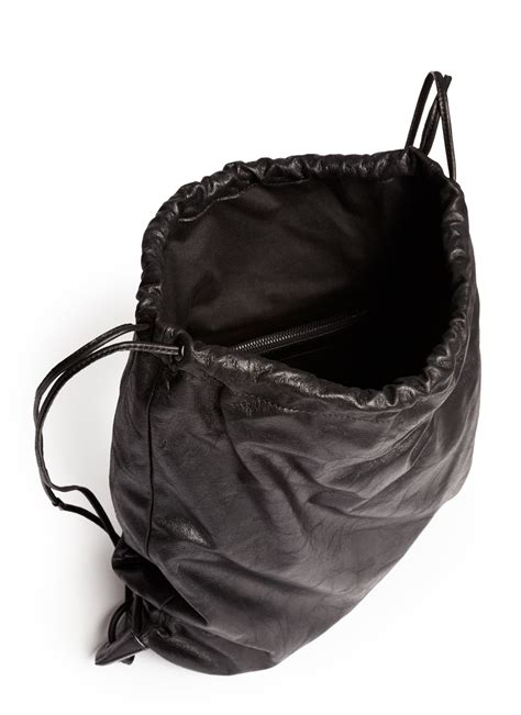 lyst alexander wang wallie lamb leather gym sack