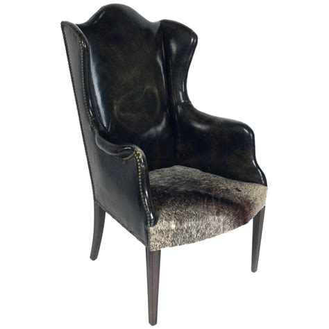 antique wing arm chair at 1stdibs antique leather and cowhide wingback armchair at 1stdibs