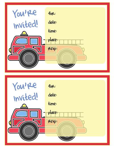 Pin Fire Engine Invitations And Free Printable Invites On Pinterest Cfire Invitation Template Free
