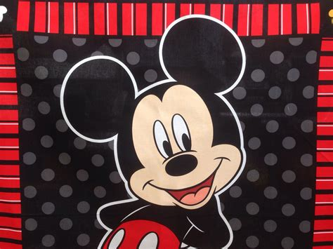 mickey mouse cot quilt fabric panel 36 x 44 90cm