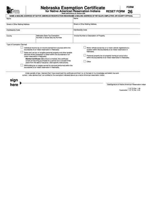 Fillable Form 26 - Nebraska Exemption Certificate For