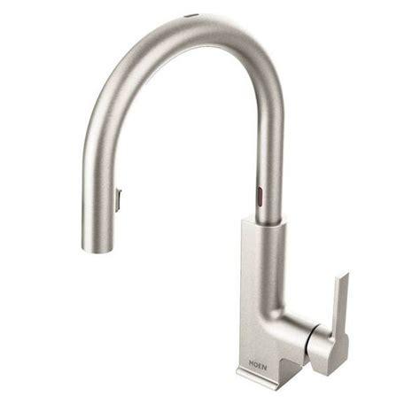 moen motionsense kitchen faucet shop moen sto one handle high arc pull motionsense kitchen faucet spot resist stainless