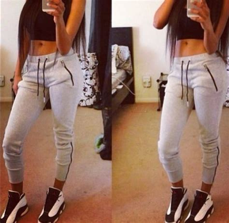 girls gray and black joggers pants pants grey tracksuitbottoms joggers fitness grey pants