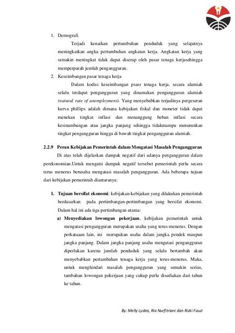 makalah pengangguran inflasi dan kebijakan pemerintah makalah pengangguran