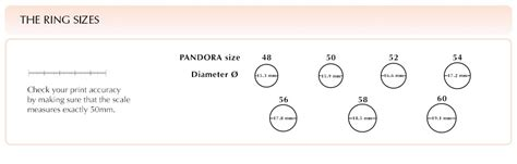 Printable Ring Sizer Pandora pandora ring size chart world of reference