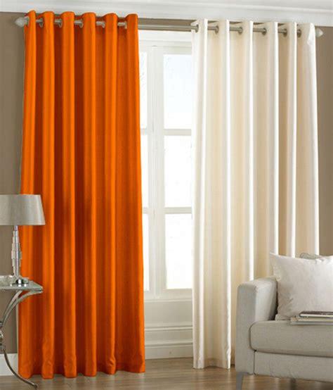 orange and cream curtains pindia plain eyelet curtains 8ft set of 2 orange cream