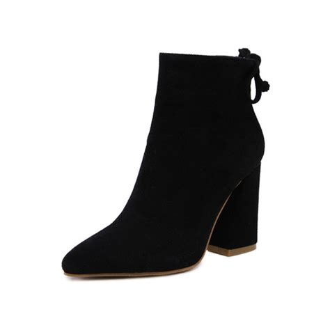 black suede flared heel pointed toe ankle boots