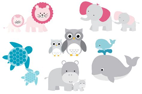mom and baby animals set illustrations on creative market
