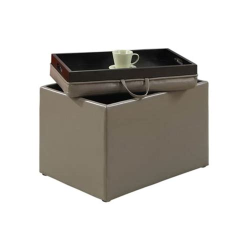 Ottoman With Tray Top Designs4comfort Grey Accent Storage Ottoman With Tray Top Convenience Concepts