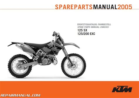 Ktm Exc Parts 2005 Ktm 125sx 125 Exc And 200 Exc Chassis Spare Parts Manual