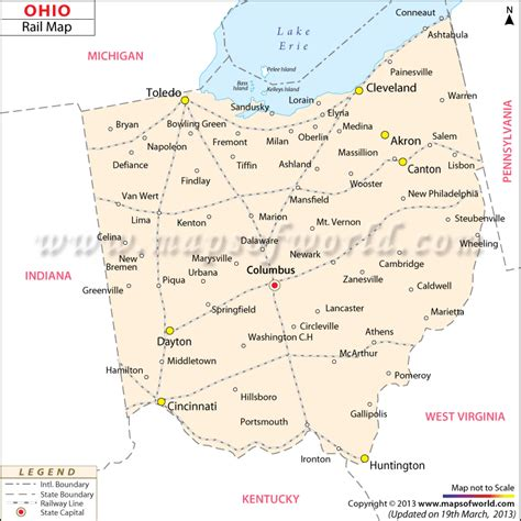 ohio in usa map ohio rail map map of routes in ohio usa