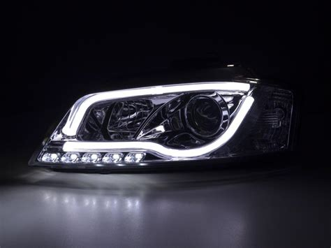 audi headlights in audi a3 2008 2012 8p black led light bar drl daylight