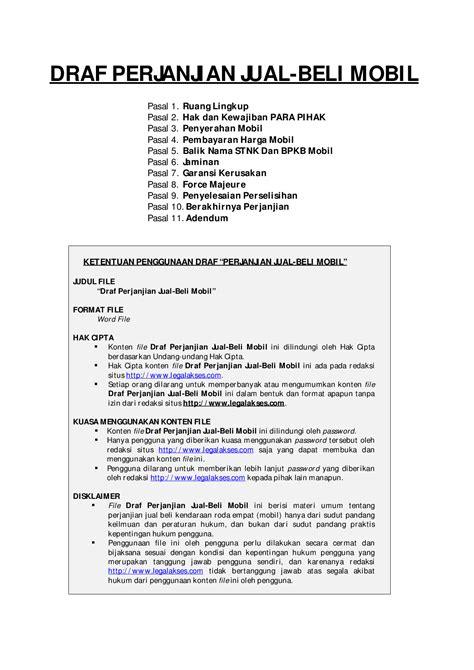 format surat kuasa jual beli draft lengkap surat perjanjian jual beli mobil
