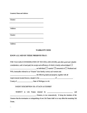 Bill Of Sale Form Michigan Warranty Deed Form Templates Fillable Printable Sles For Pdf Michigan Warranty Deed Template