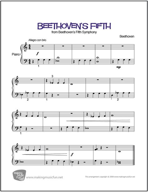 printable music lesson plans great composers beethoven s fifth easy piano sheet music digital print
