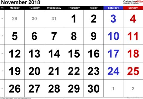 2018 November Calendar Calendar November 2018 Uk Bank Holidays Excel Pdf Word