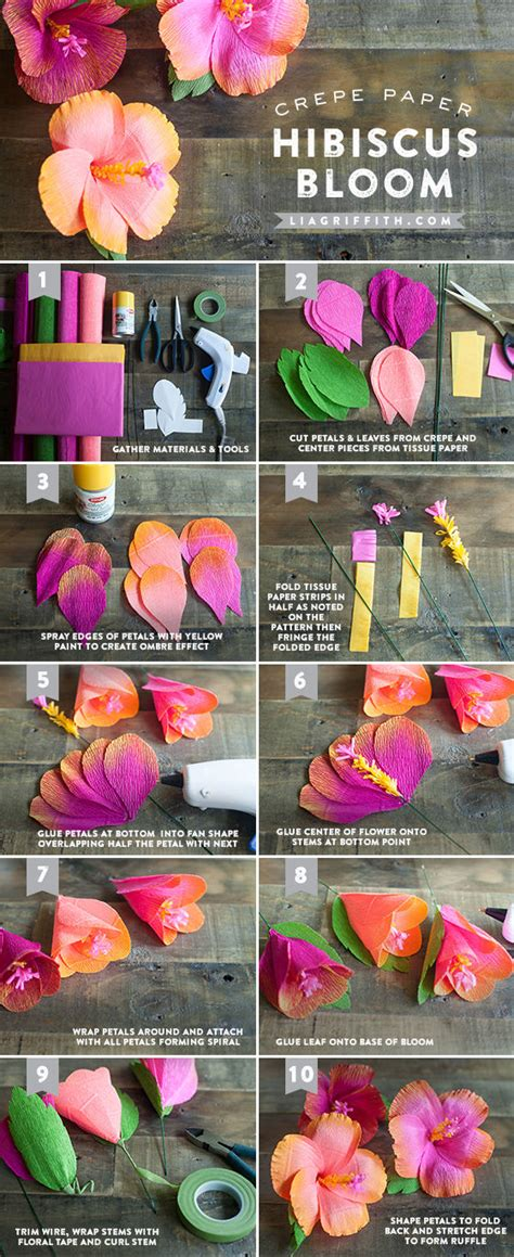 hawaiian paper flower tutorial diy crepe hibiscus paper flowers pictures photos and