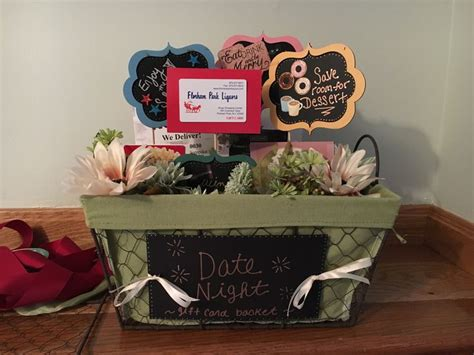 Dinner Gift Card Ideas - 1000 ideas about date night basket on pinterest date night gifts gift baskets and