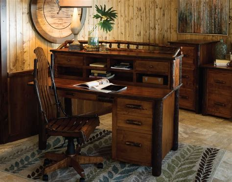 Home Office Furniture Wood Amish Rustic Hickory Desk With Topper Solid Wood Home Office Furniture Ebay