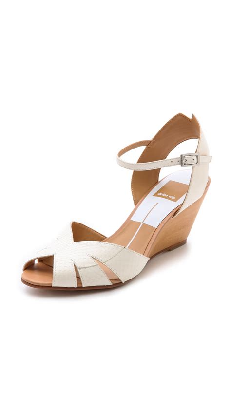 dolce vita wedge sandals dolce vita kimbra wedge sandals in white white lyst