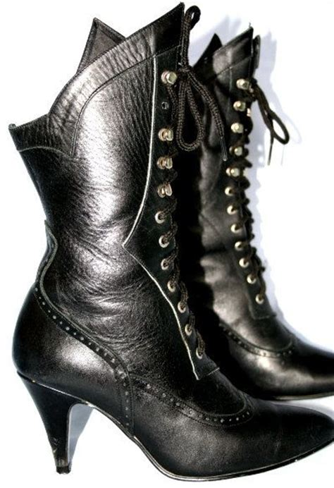 black leather lace up boot horror show searching