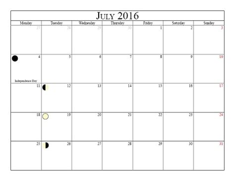 printable calendar 2016 with moon phases image gallery july 2016 schedule