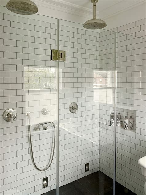 white subway tile walk in shower gray subway tile shower design ideas