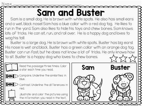 Compare And Contrast Reading Worksheets 5th Grade by Compare And Contrast Passages For Reading Comprehension